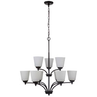 Craftmade 50229-FB-WG Tyler 9 Light 32 inch Flat Black Chandelier Ceiling Light in White Frost Glass Neighborhood Collection