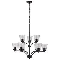 Craftmade 50229-FB Tyler 9 Light 32 inch Flat Black Chandelier Ceiling Light in Clear Seeded Neighborhood Collection