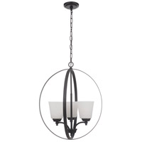 Craftmade 50233-FB-WG Tyler 3 Light 21 inch Flat Black Foyer Ceiling Light in White Frost Glass Neighborhood Collection