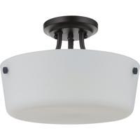 Craftmade 50252-FB-WG Tyler 2 Light 13 inch Flat Black Semi Flush Ceiling Light in White Frost Glass Neighborhood Collection
