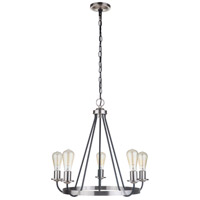Craftmade 50325-FBBNK Neighborhood Randolph 5 Light 25 inch Flat Black/Brushed Polished Nickel Chandelier Ceiling Light, Neighborhood Collection