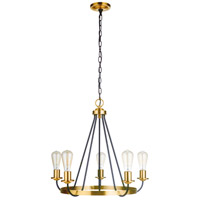 Craftmade 50325-FBSB Randolph 5 Light 25 inch Flat Black/Satin Brass Chandelier Ceiling Light in Flat Black and Satin Brass Neighborhood Collection