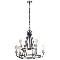 Craftmade 50329-FBBNK Neighborhood Randolph 9 Light 26 inch Flat Black/Brushed Polished Nickel Chandelier Ceiling Light Neighborhood Collection