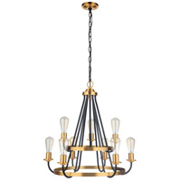 Craftmade 50329-FBSB Randolph 9 Light 26 inch Flat Black/Satin Brass Chandelier Ceiling Light in Flat Black and Satin Brass Neighborhood Collection