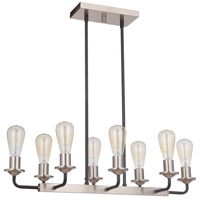 Craftmade 50378-FBBNK Randolph 8 Light 30 inch Flat Black/Brushed Polished Nickel Island Ceiling Light Neighborhood Collection
