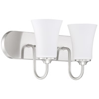Craftmade 50402-BNK-WG Gwyneth 2 Light 18 inch Brushed Polished Nickel Vanity Light Wall Light in White Frost Glass Neighborhood Collection