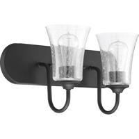Craftmade 50402-FB Gwyneth 2 Light 18 inch Flat Black Vanity Light Wall Light in Clear Seeded Neighborhood Collection