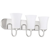 Craftmade 50403-BNK-WG Gwyneth 3 Light 24 inch Brushed Polished Nickel Vanity Light Wall Light in White Frost Glass Neighborhood Collection