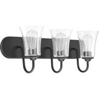 Craftmade 50403-FB Gwyneth 3 Light 24 inch Flat Black Vanity Light Wall Light in Clear Seeded Neighborhood Collection