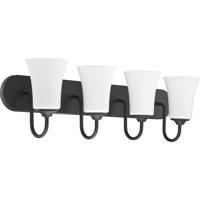 Craftmade 50404-FB-WG Gwyneth 4 Light 30 inch Flat Black Vanity Light Wall Light in White Frost Glass Neighborhood Collection