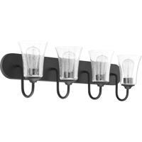 Craftmade 50404-FB Gwyneth 4 Light 30 inch Flat Black Vanity Light Wall Light in Clear Seeded Neighborhood Collection