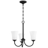 Craftmade 50423-FB-WG Gwyneth 3 Light 20 inch Flat Black Chandelier Ceiling Light in White Frost Glass Neighborhood Collection