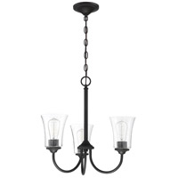 Craftmade 50423-FB Gwyneth 3 Light 20 inch Flat Black Chandelier Ceiling Light in Clear Seeded Neighborhood Collection