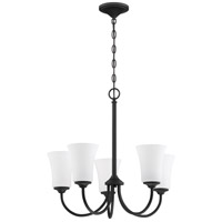 Craftmade 50425-FB-WG Gwyneth 5 Light 23 inch Flat Black Chandelier Ceiling Light in White Frost Glass Neighborhood Collection