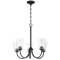 Craftmade 50425-FB Gwyneth 5 Light 23 inch Flat Black Chandelier Ceiling Light in Clear Seeded Neighborhood Collection