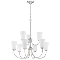 Craftmade 50429-BNK-WG Gwyneth 9 Light 32 inch Brushed Polished Nickel Chandelier Ceiling Light in White Frost Glass Neighborhood Collection