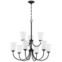 Craftmade 50429-FB-WG Gwyneth 9 Light 32 inch Flat Black Chandelier Ceiling Light in White Frost Glass Neighborhood Collection