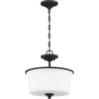 Craftmade 50452-FB-WG Gwyneth 2 Light 13 inch Flat Black Semi Flush/Pendant Ceiling Light in White Frost Glass Neighborhood Collection