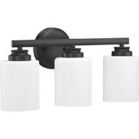 Craftmade 50503-FB-WG Bolden 3 Light 18 inch Flat Black Vanity Light Wall Light in White Frost Glass Neighborhood Collection