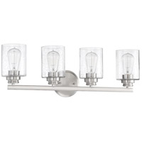 Craftmade 50504-BNK Neighborhood Bolden 4 Light 25 inch Brushed Polished Nickel Vanity Light Wall Light in Clear Seeded, Neighborhood Collection