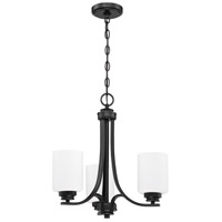 Craftmade 50523-FB-WG Bolden 3 Light 18 inch Flat Black Chandelier Ceiling Light in White Frost Glass Neighborhood Collection