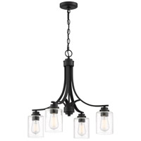 Craftmade 50524-FB Bolden 4 Light 23 inch Flat Black Chandelier Ceiling Light in Clear Seeded Neighborhood Collection