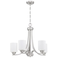 Craftmade 50525-BNK-WG Bolden 5 Light 24 inch Brushed Polished Nickel Chandelier Ceiling Light in White Frost Glass Neighborhood Collection