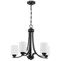 Craftmade 50525-FB-WG Bolden 5 Light 24 inch Flat Black Chandelier Ceiling Light in White Frost Glass Neighborhood Collection