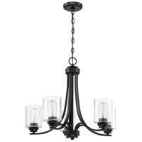 Craftmade 50525-FB Bolden 5 Light 24 inch Flat Black Chandelier Ceiling Light in Clear Seeded Neighborhood Collection