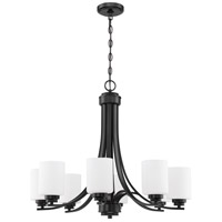 Craftmade 50528-FB-WG Bolden 8 Light 29 inch Flat Black Chandelier Ceiling Light in White Frost Glass Neighborhood Collection