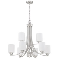Craftmade 50529-BNK-WG Bolden 9 Light 29 inch Brushed Polished Nickel Chandelier Ceiling Light in White Frost Glass Neighborhood Collection