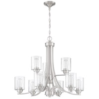 Craftmade 50529-BNK Neighborhood Bolden 9 Light 29 inch Brushed Polished Nickel Chandelier Ceiling Light in Clear Seeded, Neighborhood Collection