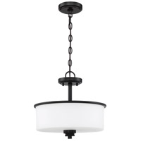Craftmade 50552-FB-WG Bolden 2 Light 13 inch Flat Black Semi Flush/Pendant Ceiling Light in White Frost Glass Neighborhood Collection