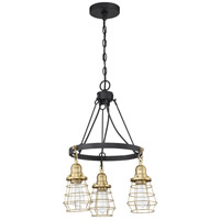 Craftmade 50623-FBSB Thatcher 3 Light 18 inch Flat Black/Satin Brass Chandelier Ceiling Light in Flat Black and Satin Brass Neighborhood Collection