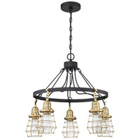 Craftmade 50625-FBSB Thatcher 5 Light 25 inch Flat Black/Satin Brass Chandelier Ceiling Light in Flat Black and Satin Brass Neighborhood Collection