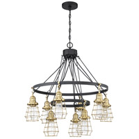 Craftmade 50629-FBSB Thatcher 9 Light 30 inch Flat Black/Satin Brass Chandelier Ceiling Light in Flat Black and Satin Brass Neighborhood Collection
