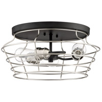 Craftmade 50683-FBBNK Thatcher 3 Light 17 inch Flat Black/Brushed Polished Nickel Flushmount Ceiling Light Neighborhood Collection