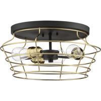 Craftmade 50683-FBSB Neighborhood Thatcher 3 Light 17 inch Flat Black/Satin Brass Flushmount Ceiling Light in Flat Black and Satin Brass Neighborhood