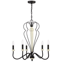Craftmade 52525-CWESP Anna 5 Light 26 inch Cottage White and Espresso Chandelier Ceiling Light