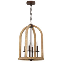 Craftmade 52734-NWABZ Aberdeen 4 Light 14 inch Natural Wood and Aged Bronze Brushed Foyer Light Ceiling Light