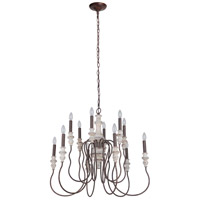 Craftmade 52812-CWFM Highgate 12 Light 32 inch Cottage White/Forged Metal Chandelier Ceiling Light