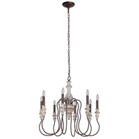 Craftmade 52828-CWFM Highgate 8 Light 27 inch Cottage White/Forged Metal Chandelier Ceiling Light