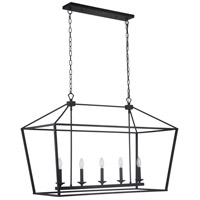Craftmade 52975-FB Flynt 5 Light 40 inch Flat Black Island Ceiling Light Neighborhood Collection