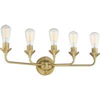 Craftmade 53005-SB Neighborhood Bridgestone 5 Light 29 inch Satin Brass Vanity Light Wall Light