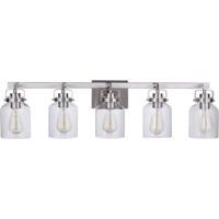 Craftmade 53605-BNK Foxwood 5 Light 37 inch Brushed Polished Nickel Vanity Light Wall Light