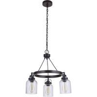 Craftmade 53623-FBDT Foxwood 3 Light 22 inch Flat Black with Dark Teak Chandelier Ceiling Light in Flat Black/Dark Teak