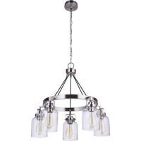 Craftmade 53625-BNK Foxwood 5 Light 25 inch Brushed Polished Nickel Chandelier Ceiling Light