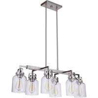 Craftmade 53676-BNK Foxwood 6 Light 33 inch Brushed Polished Nickel Island Light Ceiling Light
