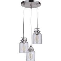 Craftmade 53692-BNK Foxwood 3 Light 12 inch Brushed Polished Nickel Pendant Ceiling Light