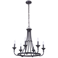 Craftmade 53726-FB Marlowe 6 Light 24 inch Flat Black Chandelier Ceiling Light